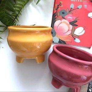Set of Ceramic Cauldrons